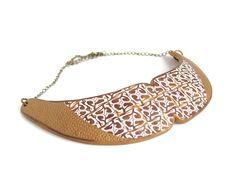 Bronze choker necklace gold bronze white polymer clay bib necklace holiday season dressy collar necklace. $48.50, via Etsy.