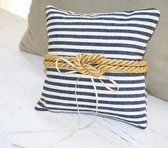 Beach Wedding, Ring Pillow, Nautical Knot - Golden Rope - Navy Blue  - Ring Bearer Pillow - Matching Flower Girl Basket Available via Etsy