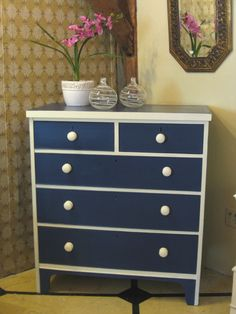 English Chest of Drawers, circa 1880's - painted in Napoleonic Blue and Old White Chalk Paint® decorative paint by Annie Sloan.