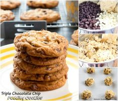 There's plenty of chocolate to love in these loaded Triple Chocolate Chip Pudding Cookies filled with a trio of chocolate chips. Chocolate Chip Pudding Cookies, Semi Sweet Chocolate Chips, Best Cookie Recipes, Cupcake Cookies, Cupcakes, How To Make Cookies, Dessert Recipes, Desserts, Holiday Baking