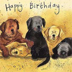 "Alex Clark ""litter Of Labs"" Happy Birthday Square Card Today Is My Birthday, Dog Birthday, Birthday Signs, Happy Birthday Wishes Cards, Happy Birthday Images, Happy Birthday Illustration, Animated Clipart, Clark Art, Cockerspaniel"