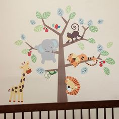 Treetop Buddies Jungle Animals Monkey Unisex Appliques Stickers Wall Decals in | eBay #NurseryStickers