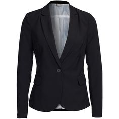 Vero Moda Vmroro Ls Blazer Noos ($43) ❤ liked on Polyvore featuring outerwear, jackets, blazers, blazer, black, tops, suit jackets & blazers, womens-fashion, vero moda jackets and tall jackets