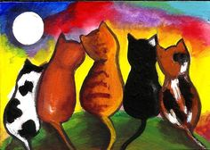 Original ACEO Painting Moon Light Gathering Cat Artwork by Anitaw