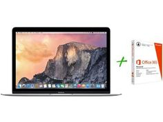 "Macbook Retina LED 12"" Apple MF855BZ/A Prata - OS X Yosemite + Pacote Office 365 Personal"