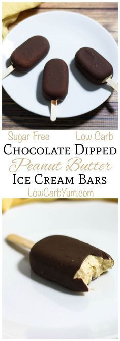 These sugar free low carb chocolate dipped peanut butter ice cream bars are so easy to make. LCHF Keto Banting THM Recipe by mykko Sugar Free Desserts, Sugar Free Recipes, Frozen Desserts, Just Desserts, Dessert Recipes, Frozen Treats, Keto Recipes, Atkins Recipes, Keto Desserts