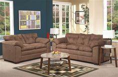 Lucille Espresso Fabric Living Room Set