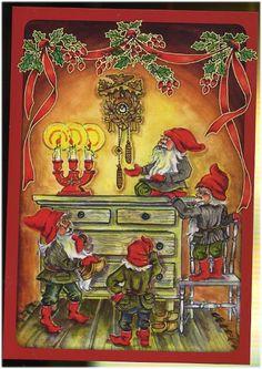 Ingrid Elf, Christmas card 10 x Finland Swedish Christmas, Winter Christmas, Christmas Cards, Mythological Creatures, Winter Solstice, Nordic Style, Gnomes, Fantasy Art, Scandinavian