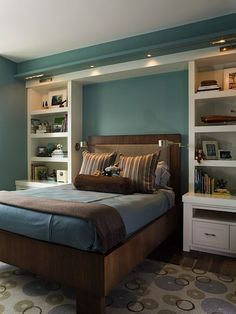 I think I'd like the shelves dark like the bed and with a not so hideous carpet.  Love chocolate brown
