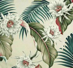 "Night Blooming tropical fabric in color natural on base cloth of 100% cotton bark. Repeat: H-18.6""; V-23.5"