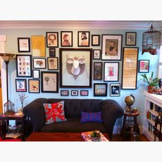 Eclectic living room. #faux taxidermy #vintage   #wall art