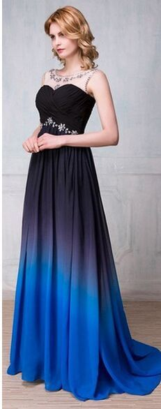 Charming Gradient Chiffon Prom Dresses,Navy Blue And Royal Blue Prom Gowns,High Low Prom Dress