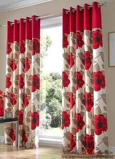 Living Room,Cute Flower Curtain Living Room: Aside of its functionally, the curtains have really important role in providing the living room with a specific style and ambience. The modern curtains will provide your living roo. No Sew Curtains, Home Curtains, Modern Curtains, Window Curtains, Red Curtains Living Room, White Kitchen Curtains, Curtain Styles, Curtain Designs, Tapestries