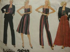 VINTAGE-1990S-VOGUE-CAMI-SKIRT-TROUSERS-JACKET-SEWING-PATTERN