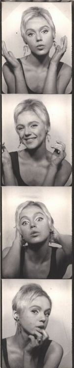 Edie Sedgwick in the photobooth, 1965.