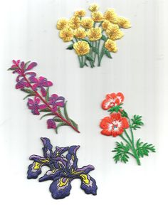 4 PC Multi Colored Flower Mixed Designs Purple Orange Lilac Yellow Floral Iron On Patch Applique