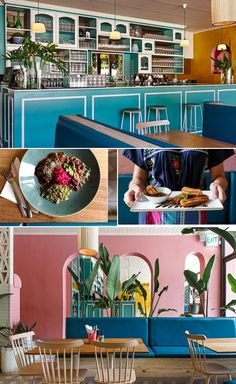 Bright, tropical colour blocking restaurant and living space with bright coloured walls and fresh greenery