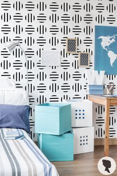Removable Stripy Circle Pattern Wallpaper A010 by Livettes on Etsy