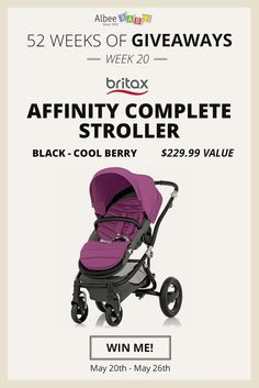 Enter to win a Britax Affinity Complete Stroller in Black-Cool Berry from AlbeeBaby during their 52 Weeks of Giveaways contest!