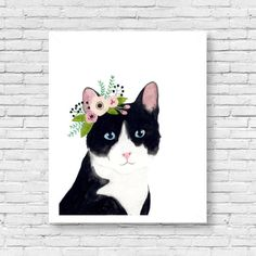 Watercolor cat flower crown cat Animal Paintings cat by zuhalkanar