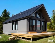 Habitaflex Pre-Built Chalet / Home Small Dream Homes, Small Cottage Homes, Cottage Plan, Lake House Plans, Small House Plans, My Home Design, Small House Design, Small Prefab Cabins, Pre Built Homes
