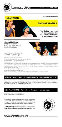 Este Domingo, no Auditório Cinema São Vicente, abrimos o BAÚ DE HISTÓRIAS, da Arteviva, com histórias da Luísa Ducla Soares! Óptimos momentos em família, venham vivê-los connosco!