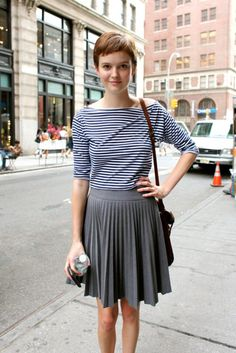 Breton top love... although what I love most is her cute pixie haircut!
