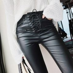 Women Fashion High Waist PU Leather Trousers Lace-up Skinny Pencil Pants Girls Zipper Cuff Faux Leather Spring Winter Pants - Black - Pants Capris # # Lace Up Leather Pants, Leather Pants Outfit, Lace Pants, Pu Leather, Leather Jackets, Designer Leggings, Leggings Fashion, Fashion Pants, Fashion Dresses