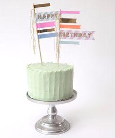 "- Gold Foil Details - Paper - 2 Large Cake Flags - 4"" x 10"""