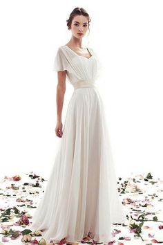 A-line Lace-up Simple Short Sleeves Vintage Wedding Dress - Shedressing.com                                                                                                                                                                                 More