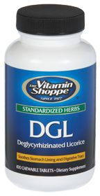 Buy DGL (Deglycyrhizinated Licoric) 100 Chewable Tablets from the Vitamin Shoppe. Where you can buy DGL (Deglycyrhizinated Licoric) and other Other Supplements products? Buy at at a discount price at the Vitamin Shoppe online store. Order today and get free shipping on DGL (Deglycyrhizinated Licoric) (UPC:766536025107)(with orders over $25).