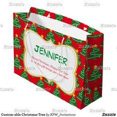 Custom-able Christmas Tree Large Gift Bag