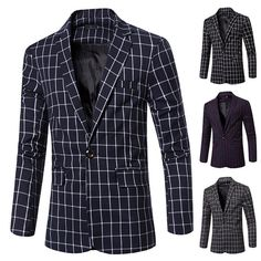 Fashion Business Plaids Printing Slim Fit Single Breasted Suits Blazers for Men