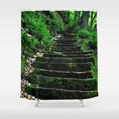 Steps into the green Shower Curtain by Pirmin Nohr - $68.00 Steps in the forest nature, steps, green, lichen, moss, forest,trees