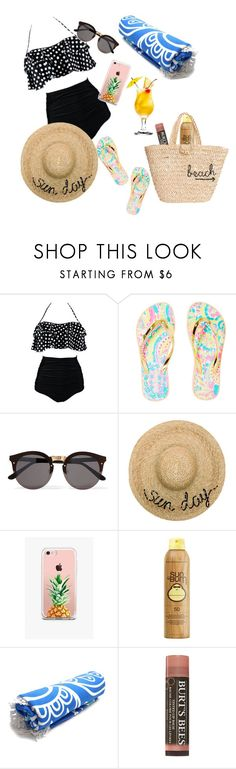 """""""Day at the beach"""" by annie-travers ❤ liked on Polyvore featuring Lilly Pulitzer, Illesteva, Eugenia Kim, The Casery, Sun Bum and Hat Attack"""