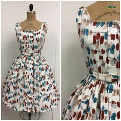 1950s Sundress 50s Barkcloth on Etsy, $125.00