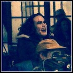 A genuine laugh, on the set of THE CROW !
