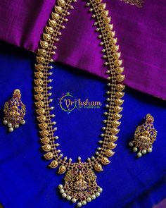 Top Matt Finish Imitation Jewellery You Can Shop Now! New Jewellery Design, Jewelry Design Earrings, Gold Earrings Designs, Gold Jewelry, Pearl Necklace Designs, Gold Chain Design, Imitation Jewelry, Necklace Online, South India