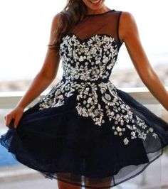 Lovely embellished floral lace mini dress