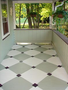 painted flooring DIY tutorial on how to paint diamonds on your porch floor.another idea would be to paint a floor cloth to look like a checkerboard. Painted Porch Floors, Painted Floor Cloths, Porch Paint, Porch Flooring, Stenciled Floor, Painted Rug, Painted Concrete Floors, Concrete Furniture, Plywood Furniture