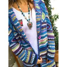 Multicolor Vintage Long Sleeve Sweater