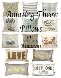 Amazing Throw Pillows all found on Amazon.  Farmhouse throw pillow collection.  Gray scheme throw pillows.  Best throw pillows