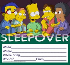 The Simpsons sleepover party invitation for boys - or girls - if you like Bart Simpson and The Simpsons this is a free invitation and the site has 1000s more all categorised