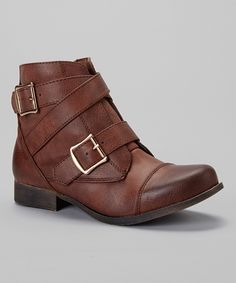 Take a look at this Cognac Prima Strap Boot I bought at zulily today!