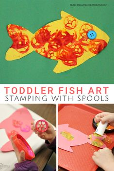 Put together toddler ocean fish art that gives them a chance to do lots of stamping with paint - bec Fish Activities, Art Activities For Toddlers, Painting Activities, Toddler Art, Toddler Crafts, Crafts For Kids, Arts And Crafts, Painting For Kids, Art For Kids