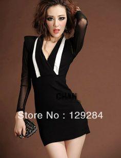 Summer Fashion women's black deep V neck see through sleeve sexy slim waist tight mini stretch Dress girl's lady  CN post $11.61