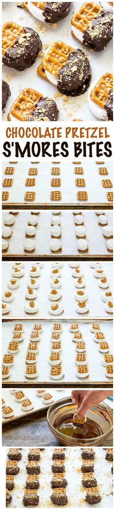 "Easy Indoor Pretzel Smores—a marshmallow peanut butter pretzel ""sandwich"" baked to gooey perfection, then dipped in chocolate. EASY recipe that's fun to make with kids or bring to a party. (Baking Cookies With Kids) Dessert Party, Dessert Dips, Dessert Parfait, Oreo Dessert, Snacks Für Party, Köstliche Desserts, Delicious Desserts, Dessert Recipes, Yummy Food"