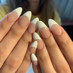 The Deep French Manicure Is the Official Nail Art of Fall Fall Almond Nails, Almond Nails French, Almond Acrylic Nails, Cute Acrylic Nails, White Almond Nails, French Tip Nail Art, French Manicures, White French Tip, Nail Tip Designs