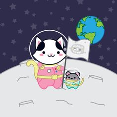It's one small step for a cat, but one giant leap for the mankind! (¯ ^ ¯) ゞ
