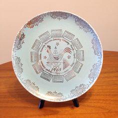 Vintage 1965 Speckled Turquoise Calendar Plate - Taylor Smith Taylor Pebbleford